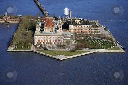 Ellis Island. stock photo, Aerial view of Ellis Island, New York City. by Iofoto Images