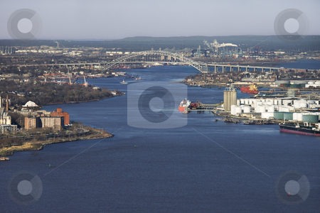 NYC Bayonne Bridge. stock photo, Aerial view of New York City's Bayonne Bridge and harbor. by Iofoto Images