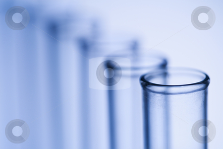 Test tubes. stock photo, Test tubes with blue tint. by Iofoto Images