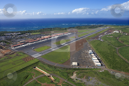Maui, Hawaii airport. stock photo, Aerial view of Maui, Hawaii airport with Pacific ocean. by Iofoto Images