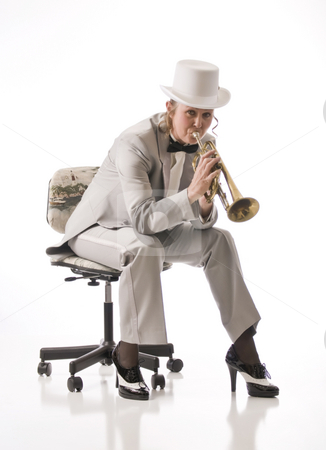 Slow and easy blues stock photo, A lady plays the blues on the trumpet by RCarner Photography