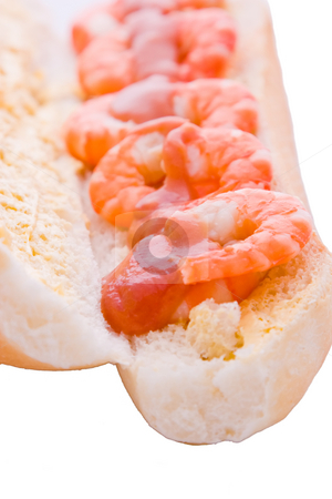 Prawns on a Roll with Sauce stock photo, Prawns on a buttered roll with a seafood sauce by Nicholas Rjabow