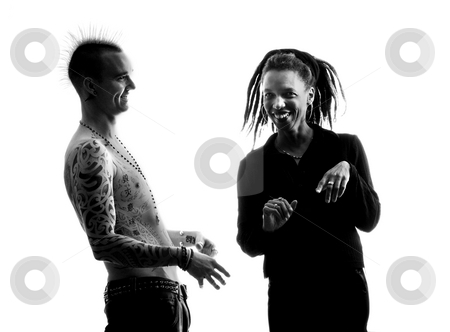 Man and Woman stock photo, Man with Mohawk and Woman wearing Dreadlocks by Scott Griessel