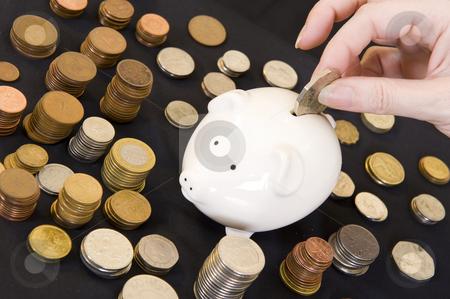 Piggybank with various currency