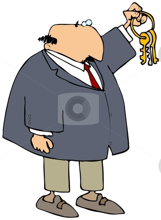 Key Master stock photo, This illustration depicts a businessman holding up a ring of keys. by Dennis Cox