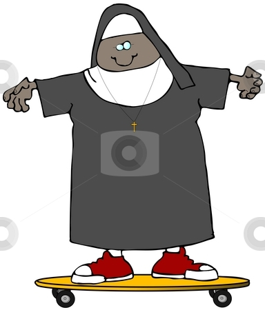 Nun On A Skateboard stock photo, This illustration depicts a nun riding a yellow skateboard. by Dennis Cox