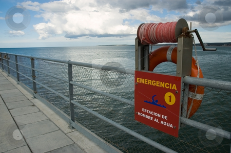 Emergency notice at a pier stock photo, Emergency notice at a pier in Puerto Madryn, Patagonia, Argentina. by Pablo Caridad