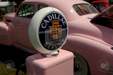 Love my pink Cadillac stock photo, This vintage pink 1941 Cadillac is reportedly painted an Elvis shade of pink.  The custom Caddy, displayed with its own gas pump, won several  awards at the 2008 Pequot Lakes, MN car show (photo June, 2008). by Dennis Thomsen