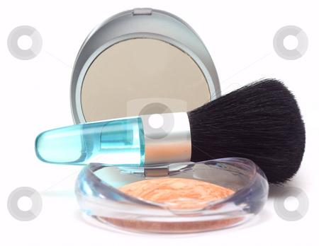 Powder and brush stock photo, Brush over powder box isolated over white with focus on brush by Natalia Macheda