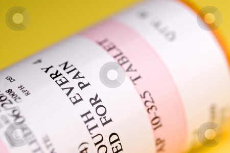 Shallow focus macro of medication bottle stock photo, Shallow focus macro of medication bottle by Vince Clements