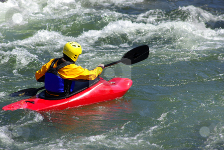 Kayak In The Whitewater stock photo, Kayaking On The S. Fork American River in California on a spring afternoon by Lynn Bendickson