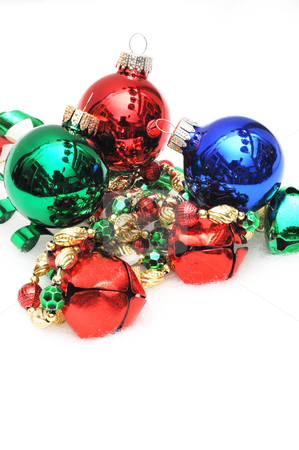 Christmas Ornaments And Bells stock photo, Red, green and blue ornaments and jingle bells by Lynn Bendickson