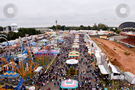 Carnival Midway stock photo, The midway at a State Fair carnival. by Robert Byron
