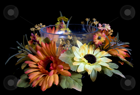 Flower Bowl stock photo, A glass bowl with artificial flowers around it, isolated on black by Richard Nelson