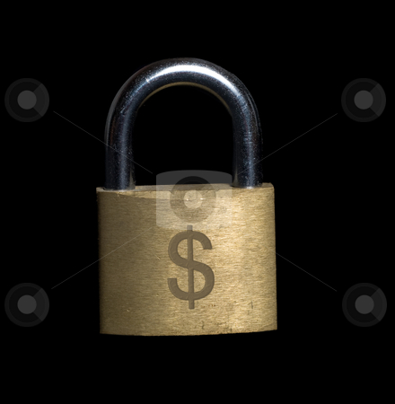 Locked Finances stock photo, A padlock with a money symbol engraved into it by Richard Nelson