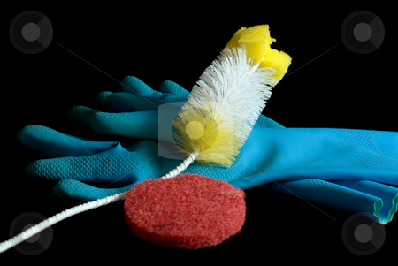 Cleaning Objects stock photo, Cleaning gloves and scrubbers, isolated on a white background by Richard Nelson