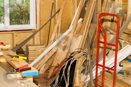 Home Renovations stock photo, A gutted house with assorted tools and lumber by Richard Nelson
