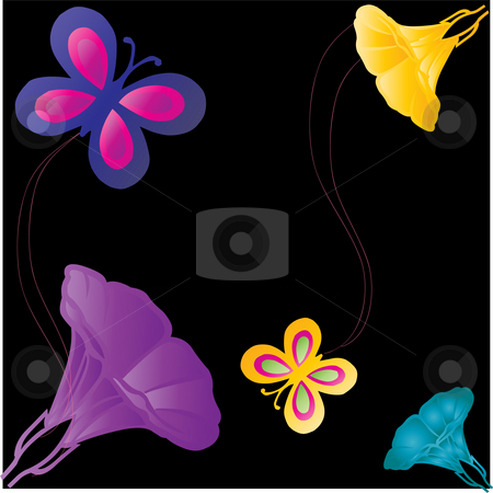 Butterflies and flowers on black background stock photo, Gradient flowers and butterflies on a decorative  black background by Michelle Bergkamp