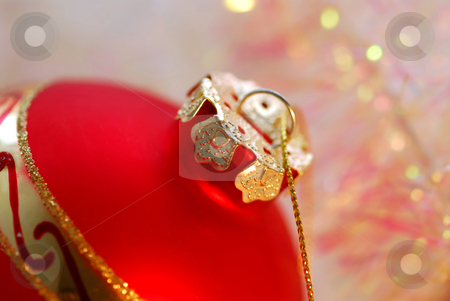 Christmas ornament stock photo, Red Christmas glass ball with golden top by Elena Elisseeva