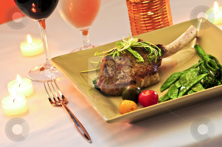 Veal dinner stock photo, Gourmet romantic dinner with red wine at candlelight by Elena Elisseeva