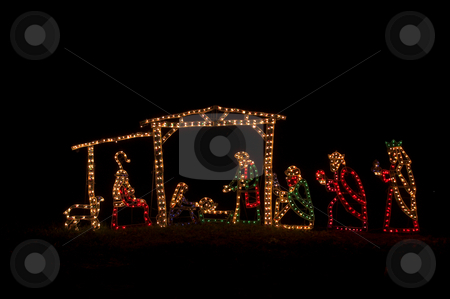 Nativity Scene stock photo, A festive yuletide Christmas religious nativity scene. by Robert Byron