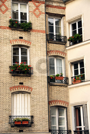 Paris windows stock photo, Windows of old apartment buildings in Paris France by Elena Elisseeva