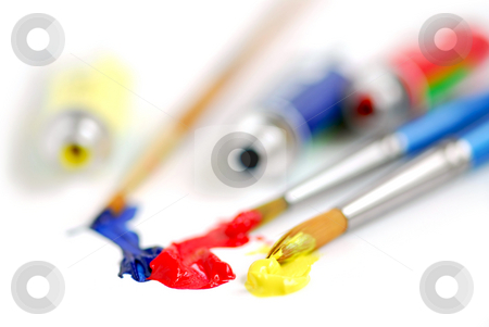 Primary colors paintbrush stock photo, Macro of paintbrushes and paint tubes of primary colors by Elena Elisseeva