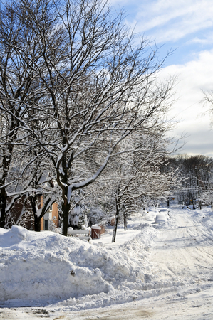 Winter street stock photo, Winter street with lots of snow in Toronto by Elena Elisseeva