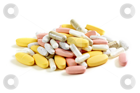 Mix of vitamins stock photo, Mix of vitamins and herbal supplements on white background by Elena Elisseeva