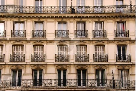 Paris windows stock photo, Windows and balconies of old apartment buildings in Paris France by Elena Elisseeva