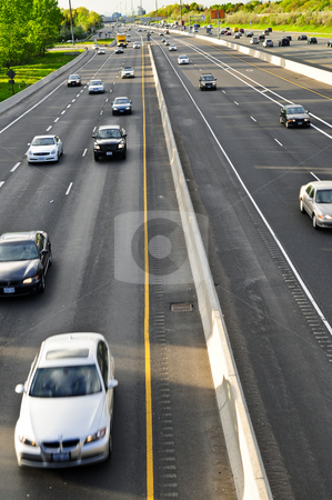 Busy highway stock photo, Busy multi-lane highway in a big city by Elena Elisseeva
