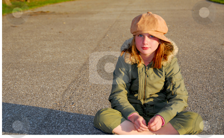 Girl winter clothes stock photo, Girl in winter or fall clothes outside by Elena Elisseeva