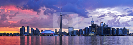 Toronto skyline stock photo, Scenic view at Toronto city waterfront skyline at sunset by Elena Elisseeva