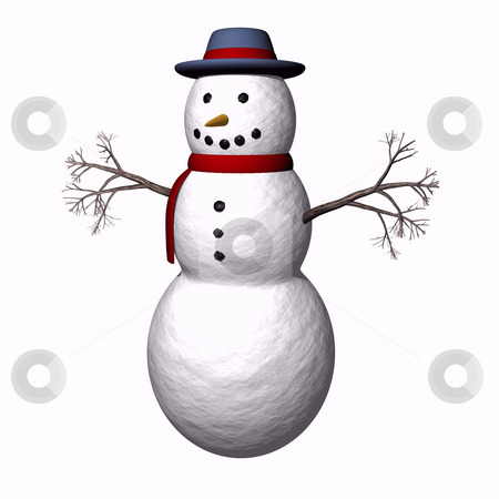 Snow man with twig arms stock photo, Snowman with twig arms on a white background by John Teeter
