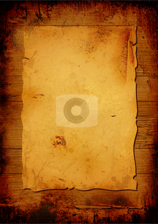 Aged parchment stock photo, Worn parchment placed over a wooden background with copy space by Michael Travers