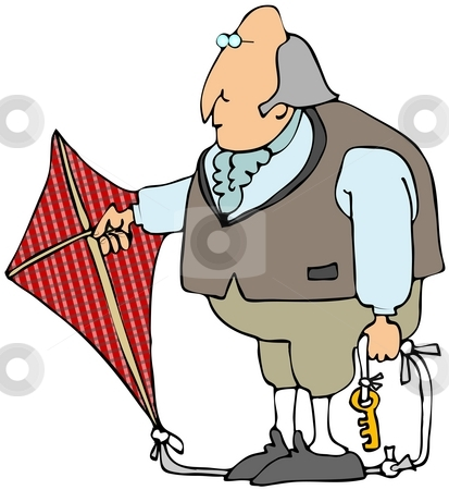 Benjamin Franklin stock photo, This illustration depicts Benjamin Franklin holding a kite with a key attached to the tail for his electricity experiment. by Dennis Cox