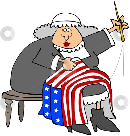 Betsy Ross stock photo, This illustration depicts American revolutionary era character Betsy Ross sewing a flag. by Dennis Cox