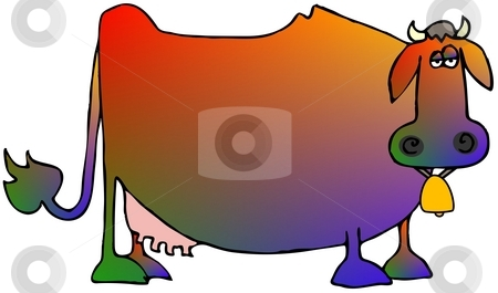 Multi-colored Cow stock photo, This illustration depicts a cow in multiple shades of color. by Dennis Cox