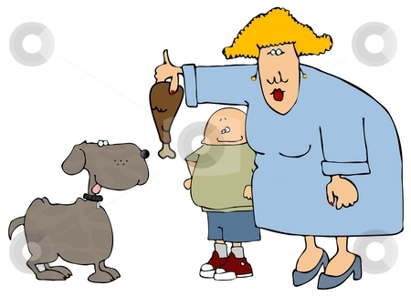 Feeding The Dog stock photo, This illustration depicts a woman and child feeding a dog with a turkey drumstick. by Dennis Cox