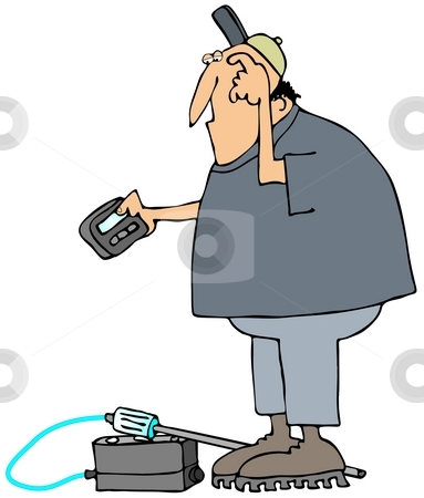 Gas Man stock photo, This illustration depicts a worker looking at his pager with a gas detector at his feet. by Dennis Cox