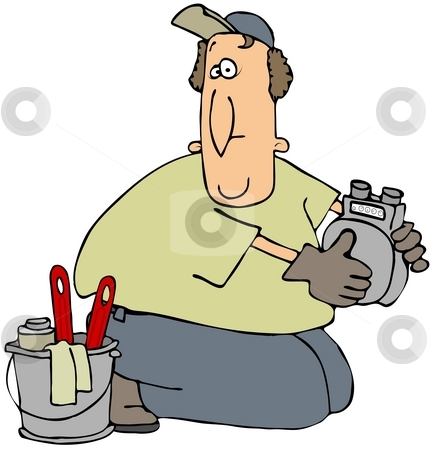 Gas Meter Man stock photo, This illustration depicts a man holding a gas meter with a bucket full of tools to his side. by Dennis Cox