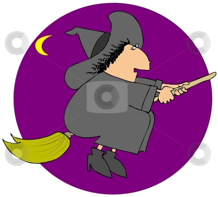 Witch On A Broom stock photo, This illustration depicts a witch riding a broom. by Dennis Cox