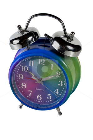 Alarm clock isolated with clipping path stock photo, Retro style alarm clock with bells on the top by RCarner Photography