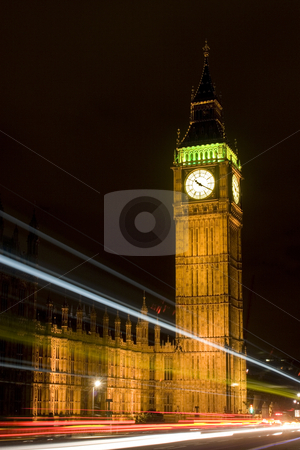 Westminster Tower at night with Light Trails stock photo, Westminster Tower/Big Ben at night from Westminster Bridge with light trails from passing vehicles by Steve Smith