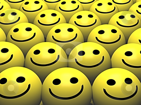 Smileys faces stock photo, A group pf smileys with happy smiles by Norma Cornes