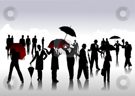 People silhouettes stock vector clipart, Men and women with umbrella silhouettes by Leonid Dorfman
