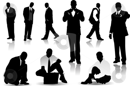 Handsome  men  silhouettes stock vector clipart, Handsome  men  silhouettes vector illustration by Leonid Dorfman