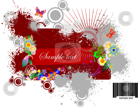 Floral grunge background stock vector clipart, Floral grunge background vector illustration by Leonid Dorfman