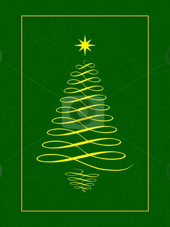 Elegant Gold Christmas Tree stock photo, Modern Christmas tree illustration - elegantly scrolled tree with star in faux 3d gold on green background.  Design ratio and frame sized for 5x7 greeting card. by Teri Francis Mazzafro