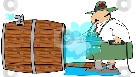 Steam Cleaning The Beer Barrel stock photo, This illustration depicts a Bavarian man steam cleaning a beer barrel after Oktoberfest. by Dennis Cox